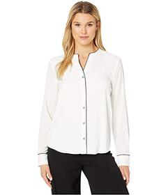 Tommy Hilfiger Piped Long Sleeve Woven Top
