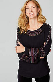 Embroidered Ladder-Stitched Peasant Top