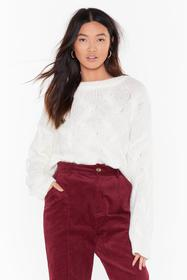 Nasty Gal Ivory Over My Head Cable Knit Sweater