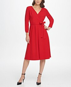 Ruched Sleeve Surplice Fit & Flare Dress