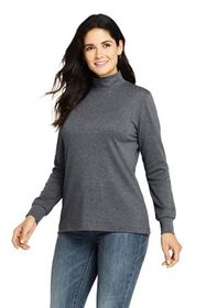 Lands End Women's Relaxed Cotton Long Sleeve Mock