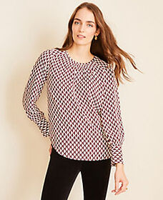 Geo Smocked Mock Neck Blouse