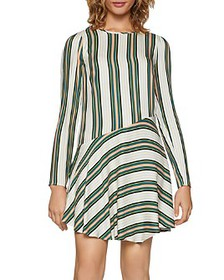 BCBGENERATION - Striped Asymmetric Drop-Waist Dres