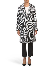 Reveal Designer Zebra Wool Blend Coat