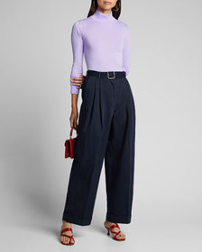 Dries Van Noten Belted Cotton Cropped Pants