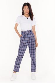 Nasty Gal Blue Nicely Plaid Belted Check Pants