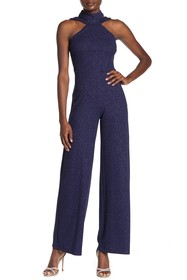 bebe High Neck Sparkling Jumpsuit