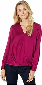 Vince Camuto Long Sleeve Wrap Front Hammer Satin B