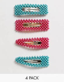 ASOS DESIGN pack of 4 large pearl snap hair clips