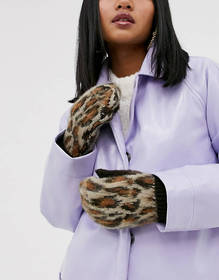 ASOS DESIGN leopard fluffy mittens gloves