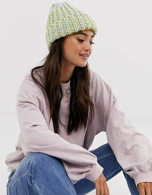 ASOS DESIGN chunky mix knit beanie hat in multi co