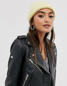 ASOS DESIGN fluffy brushed knitted beanie hat