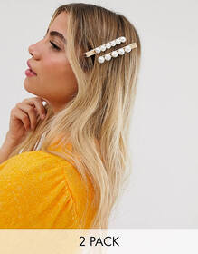 ASOS DESIGN pack of 2 hair clips with oversized pe