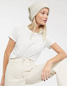 Weekday Pull ribbed beanie in off-white
