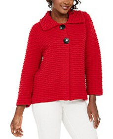 Holiday Party Textured Sweater Jacket, Created for