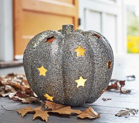 Pottery Barn Glitter Pumpkin & Stars Luminary