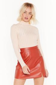 Nasty Gal Nude Round That Ballpark Ribbed Sweater