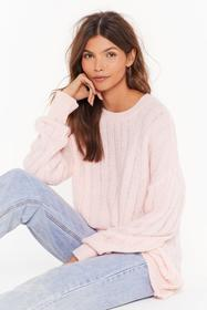 Nasty Gal Pink Hello Knit's Me Ribbed Longline Swe