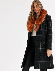 Vila check coat with removerble faux fur