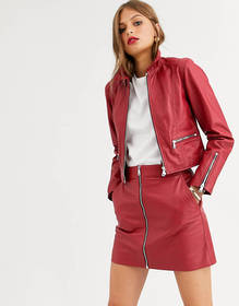 Lab Leather zip front retro jacket