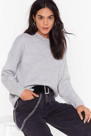 Nasty Gal Grey Seen Knit Coming Crew Neck Sweater