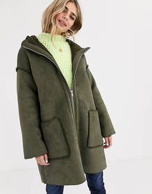 ASOS DESIGN shearling parka with seam detail in kh