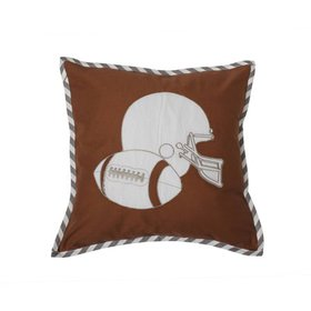 Bacati - Football Brown/Grey Muslin Dec Pillow 12