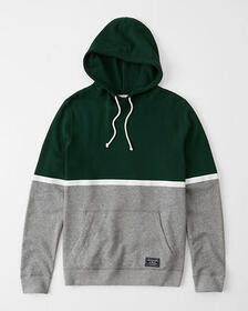 Colorblock Hoodie, DARK GREEN