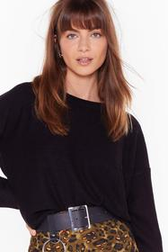 Nasty Gal Black Never Crew How Much Knitted Sweate