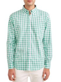 Lee Men's Long Sleeve Plaid Stretch Button Down wi