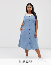 Simply Be denim midi dress with button through in