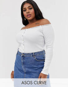 ASOS DESIGN Curve bardot with button front and lac