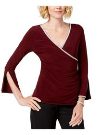 Women's Medium Petite Embellished V-Neck Blouse PM