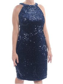 NIGHTWAY Womens Navy Sequined Sleeveless Halter Kn
