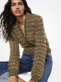 michael kors collection Tinsel Cropped Bomber Jack