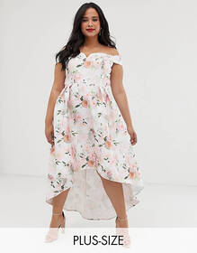 Chi Chi London Plus bardot midi prom dress in flor
