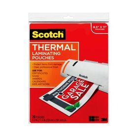 Scotch Thermal Laminating Pouches, 20 Count, 8.5in