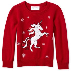 Baby And Toddler Girls Sequin Christmas Unicorn Sw