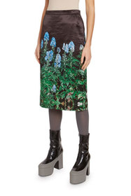 Dries Van Noten Bluebonnet-Print Silk Skirt
