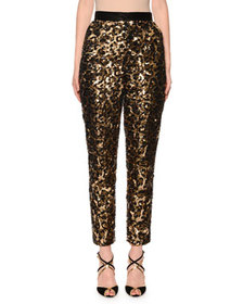 Dolce & Gabbana High-Rise Sequined Leopard Pattern
