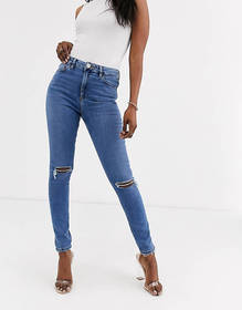 ASOS DESIGN Ridley high waist skinny jeans with ri