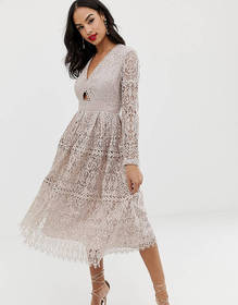 ASOS DESIGN lace long sleeve prom midi dress with
