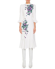 Andrew Gn Mock-Neck Flare-Sleeve Midi Dress w/ Flo