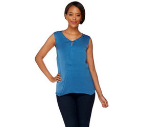 """""""As Is"""" H by Halston Sleeveless Top w/Front Keyhol"""