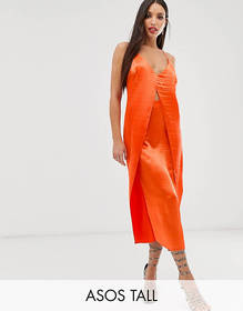 ASOS DESIGN Tall cami midi slip dress with cut out