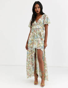 ASOS DESIGN maxi dress in trophy floral print and