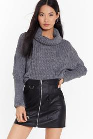 Nasty Gal Charcoal They Had Knit Coming Turtleneck