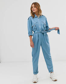 ASOS DESIGN utility belted boilersuit with popper