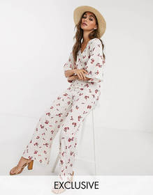 Wednesday's Girl relaxed jumpsuit in ditsy floral