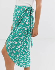 ASOS DESIGN wrap midi skirt with tie side in green